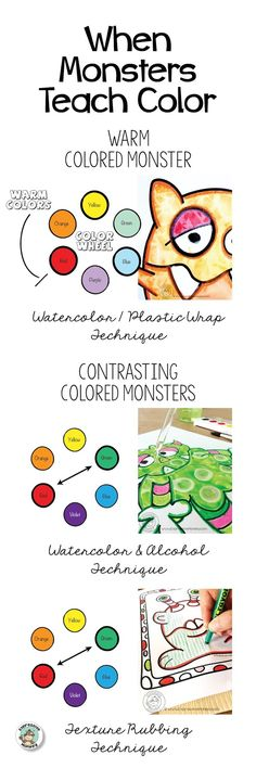 When monsters teach color you make learning fun. See 3 lesson ideas for letting the monsters into your art room.