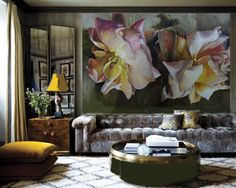 artwork | living room | Diana Watson mural size painting in a very elegant room