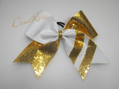 Cheer Bow Texas size  Gold & White by desarosebowtique on Etsy, $14.00