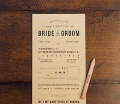 Guest note to Bride & Groom template