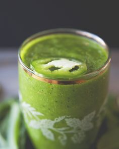 This is my new green smoothie, and I'm pretty obsessed with it (hence the title of this post).  It's sweet, it's spicy, it's green, it's ALL THE THINGS. It also manages to be creamy, without having any type of dairy or almond milk in it. Hope you dig it as much as I do!