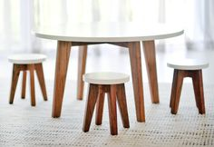 The Design Files - via http://bit.ly/epinner  Sweet table and stools set for kids by GatherKids
