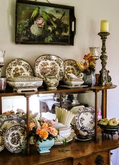 Dancing Dog Cabin: Decorating with brown transferware