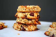 Confections from the Cody Kitchen: Gluten Free Dairy Free Breakfast Cookies Gluten Free Breakfasts, Gluten Free Desserts, Gluten Free Recipes, Healthy Recipes, Gf Recipes, Clean Recipes, Healthy Desserts, Healthy Foods, Breakfast Cookie Recipe