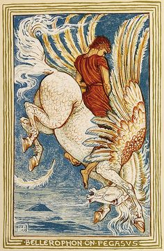 Walter Crane -  Bellerophon on Pegasus - from A Wonder Book for Girls and Boys - 1892