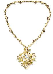 """IVORY, ENAMEL AND DIAMOND """"KISS"""" PENDANT AND NECKCHAIN, BY RENE LALIQUE"""