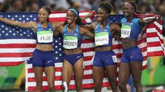Gold. United States zips to victory in women's 4X100m relay