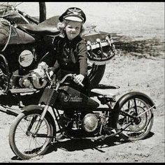 One lucky girl on her super cool Indian mini motorcycle!