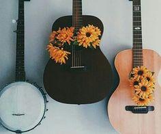 grafika flowers, guitar, and music