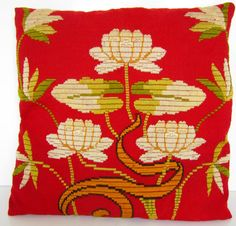 Arts and Crafts Pillow Embroidered Red Gold by nanascottagehouse, $75.00