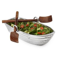 Look what I found at UncommonGoods: row boat salad bowl with wood serving utensils... for $65 #uncommongoods