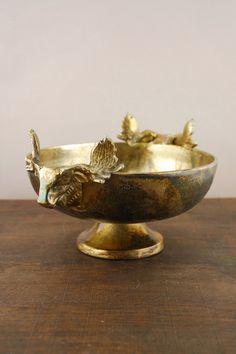 Elk Metal Bowl Antique Gold 9in