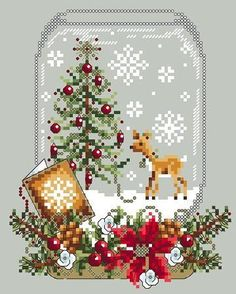 Cross Stitch Embroidery Everything Cross Stitch - Deer Snow Globe Counted Cross Stitch Patterns, Cross Stitch Charts, Cross Stitch Designs, Cross Stitch Embroidery, Embroidery Patterns, Hand Embroidery, Cross Stitch Christmas Ornaments, Christmas Embroidery, Christmas Cross