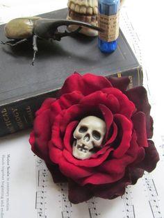 Large skull blood red burgandy velour rose fascinator barette clip rockabilly 50's pin up halloween. $22.89, via Etsy.