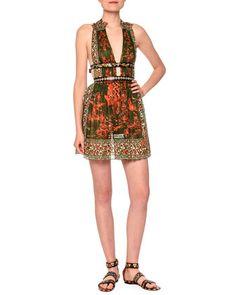 V-Neck+Mini+Dress+W/Banded+Waist,+Orange/Green+by+Valentino+at+Neiman+Marcus. $6400