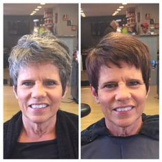Nan decided to go dark while waiting for her hair to grow out. Fabulous color by Hayley Pairama! Duncan Edward Hair Design, Madison, WI. duncanedward.com #duncanedward #womenshair #beforeandafter #brunette #nogrey