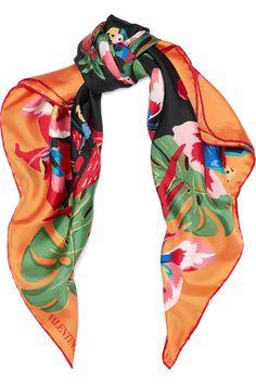 Valentino - Printed Silk-twill Scarf - Orange - one size