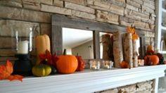 39 Amazing Fall Mantel Décor Ideas : Fall Mantel Décor With Wooden Brick Walls Pumpkin Candlesticks Mirror Design