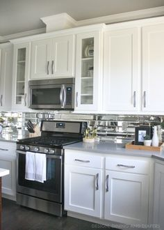 gray and white kitchen reveal