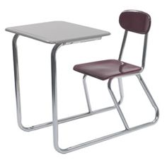 Scholar Craft CDF SC5817 Sled Base Chair Desk - These popular chair desks feature a 5/8-inch solid Melamine Resin hard plastic seat and back that resists chipping, scratching and fading, providing a stylish and durable classroom seating solution.  Chair desk tops are available with a Melsur 5/8-inch Melamine Resin solid plastic surface that's flat and non-angled and features a dual entry design that provides easy access for students. [SC5817]