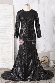 f4a7ed5436e Elegant Black Long Sleeve Bateau Neckline Pattern Sequin Long Mermaid Prom  Dress