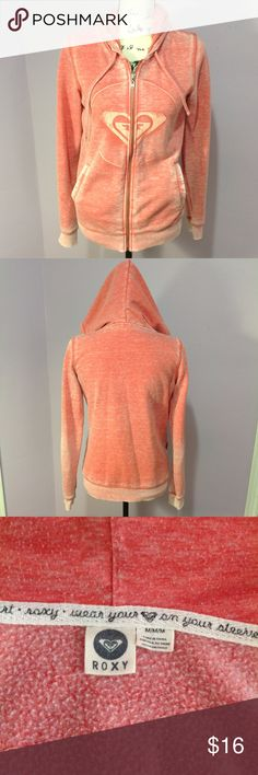 """Roxy Hoodie Orange acid washed hoodie with a zip up front, drawstring hood and classic logo on the front. Lightweight and soft. P-P 18"""" S-H 25 1/2"""" Sleeve 25"""" Roxy Tops Sweatshirts & Hoodies"""