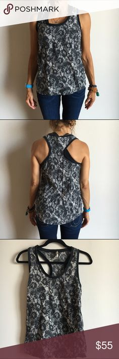 Joie lace graphic tank racer back. lace graphic print. good condition.  NO TRADES. Joie Tops Tank Tops