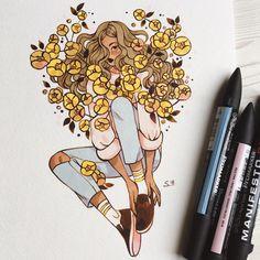 """33.3 mil curtidas, 146 comentários - Sibylline Meynet (@sibylline_m) no Instagram: """"Inner garden 3/3 paper : Canson Montval // markers : Promarkers @winsorandnewton // ink :…"""""""