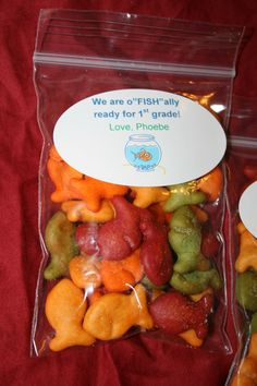 "I used Goldfish crackers to make end-of-the-year treat bags for my daughter's Kindergarten classmates. Using small baggies and labels, I attached a label that stated, ""We are oFISHally ready for first grade!"""