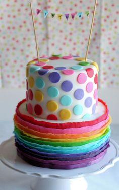 Rainbow ruffle polka dot cake