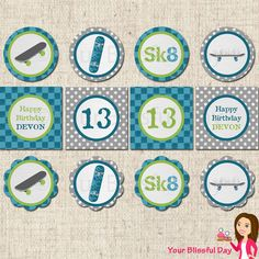 PRINTABLE Personalized Skateboard Party Circles