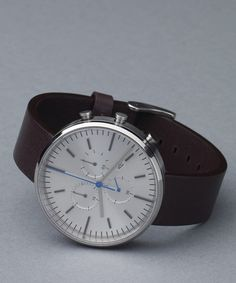 302 Series Brushed Steel / Mahogany Brown Leather | Uniform Wares