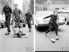 **cool**    Shot by Bill Eppridge back in the 1960s for LIFE magazine, these black and white images depict both kids and adults skateboarding around New York and, by the looks of it, this was a time when anyone could get involved and skating wasn't so frowned upon by society like it sometimes is now.