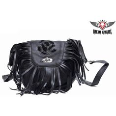 Women's Black Rose Inlay Motorcycle Leather Purse