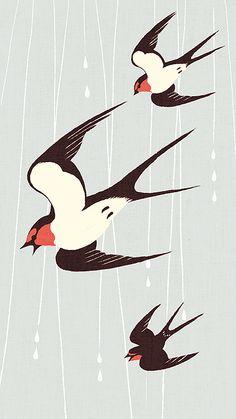 Swallows by Shino Gravure Illustration, Bird Illustration, Graphic Design Illustration, Illustrations, Linocut Prints, Art Prints, Bird Quilt, Bird Crafts, Bird Drawings