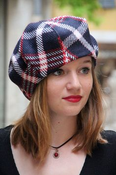 Tartan beret. Navy blue fabric hat. Slouchy by delisaboutique