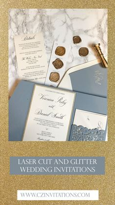 Gold glitter invitation! The beautiful Dusty Blue Laser Cut Pocket Invitation is timeless and elegant. Add a pop of glitter with the gold glitter mat and belly band. Take this lace set to the next level with a wax seal! Formal Wedding Invitations, Glitter Invitations, Unique Invitations, Wedding Invitation Design, Wedding Stationery, Glitter Wedding, Gold Wedding, Gold Glitter, Diy Wedding