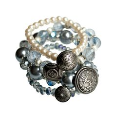 Baby Blue and Silver stacking bracelets  layering by JustineBrooks, $50.00