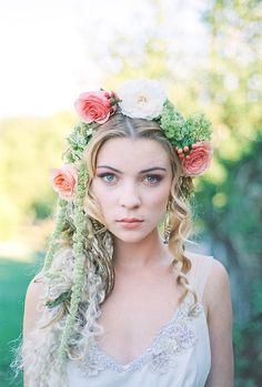 Fairy Tale Tangled Wedding Shoot floral hair ideas