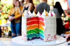 Rainbow cake raising money for #rainbowinternational ! See below for the ingredients required - and follow any #cake recipe to put them together! #rainbow #tasty #yum  465g self raising flour 465 butter 465 caster sugar 8 eggs 1 tbsp vanilla extract  3 tsp baking powder  50ml milk or until slightly runny  Gel paste Wilton colours (important to not be liquid/gel colours) - about a quarter of a tsp for each 1/6 of the cake mix  Makes 6 layers in 21cm cake tin
