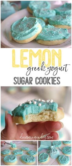 Soft Lemon Greek Yogurt Sugar Cookies with Tiffany Blue Lemon Buttercream Frosting Recipe by Dreaming in DIY - These are SO yummy and the dreamiest texture! This is about to become your new favorite sugar cookie recipe to frost for every holiday. You'll want to eat the frosting by the spoonful! #yogurtcookies #greekyogurtcookies #cookies #lemoncookies #lemondesserts #cookierecipes #easycookies #softbatchcookies #softcookies