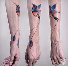 Hummingbird Geometric Forearm Piece