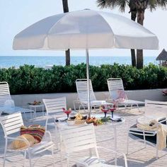 Aluminum Tilting Umbrella by Tropitone. Available from Rich's for the Home http://www.richshome.com/