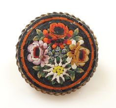Vintage Round Micro Mosaic Floral Brooch- Italy