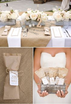 I like the burlap, Tin and Roses.  I like that the centerpieces would allow people to talk to each other across the tables:)
