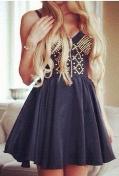 Dark blue & gold dress