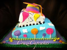 """Dr seuss graduation cake!!  make with """"oh the places you'll go"""" for Matt"""