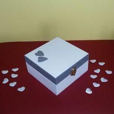 Wooden handpainted romantic box, white and grey.