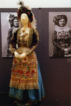 """Exhibition view of """"Patterns of Magnificence"""", Hellenic Centre, London, February 2014 Greek Traditional Dress, Traditional Outfits, Gypsy Costume, Folk Costume, Historical Costume, Historical Clothing, Greek Costumes, Folk Dance, Ethnic Dress"""