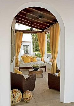 drapes on the porch